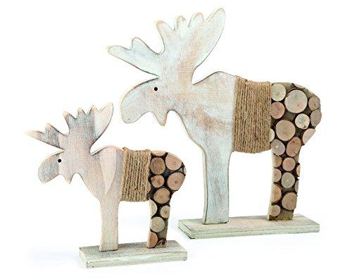 """Small Foot Deko-Elch """"Baumscheiben"""", 2er Set Weihnachtsdekoration, Holz, weiß/natur, 28 x 6 x 30 cm"""
