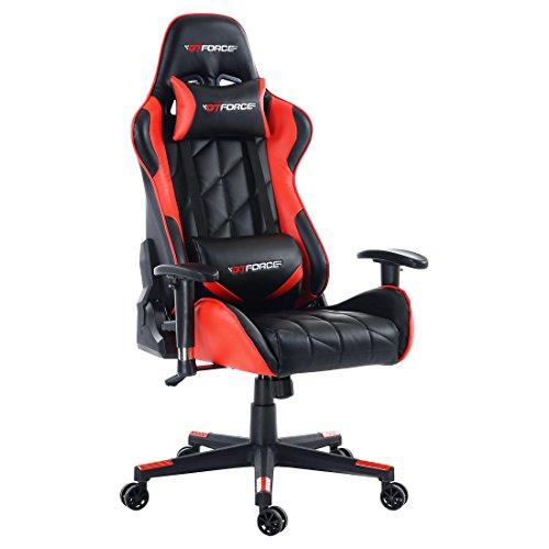 GTFORCE PRO GT - Silla gamer reclinable para el ordenador - Ideal para casa y el trabajo - Cuero sintetico - Rojo