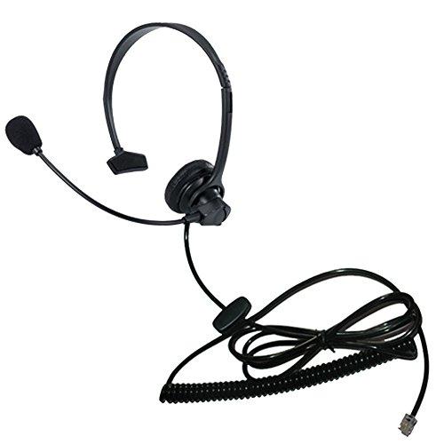 Voistek Call Center Telephone Headphone Headset with Mic Monaural Flexible Noise Cancelling for Simens NEC GE Office Landline Phones (B10)