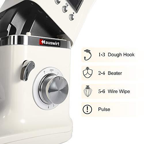 Hauswirt Küchenmaschine Multifunktional Knetmaschine 5L Edelstahl-Rührschüssel 8 Geschwindigkeit 1000W elektrischer Küchenmixer mit Rührbesen, Knethaken, Schlagbesen LCD Bildschirm - 6