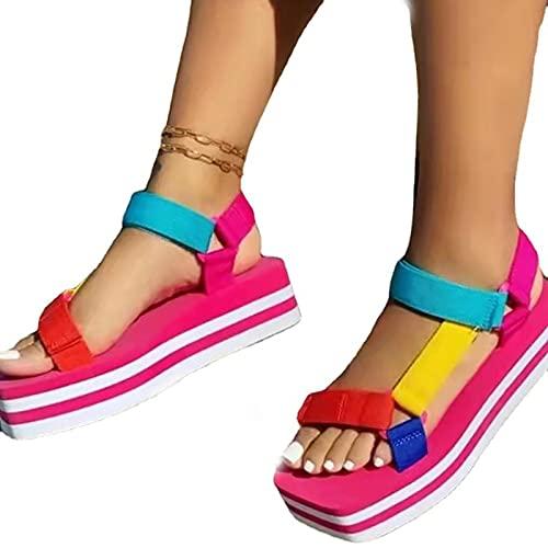 BLANSHAN Sandalias para Mujer con cuña, Moda de Verano, Sandalias cómodas, Casual, Diario, con Plataforma, Zapatos Planos de Playa para Interiores, Exteriores, Vacaciones, Amarillo, Rojo