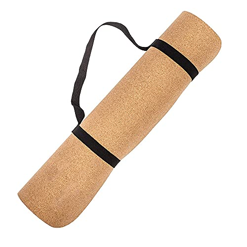 """Cork Yoga Mat With Strap Non Slip Eco Friendly Yoga Mat Men & Women - Lightweight Sustainable Cork Mat Top & Non Toxic TPE Natural Rubber Yoga Mat Backing (72"""" Long x 24"""" Wide x 4mm Thick)"""