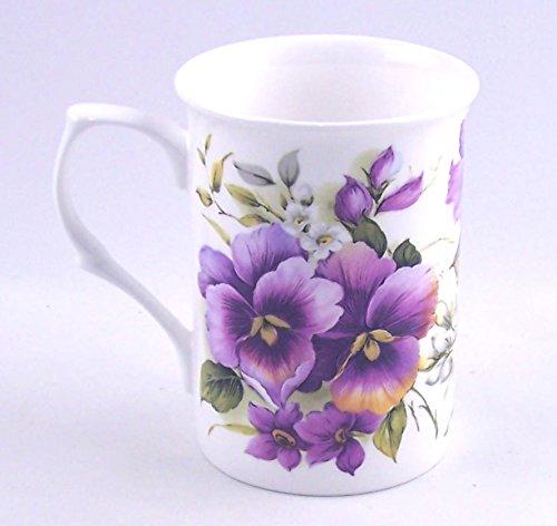 Fine English Bone China Mug - Pansy Wrap Chintz - Adderley, England