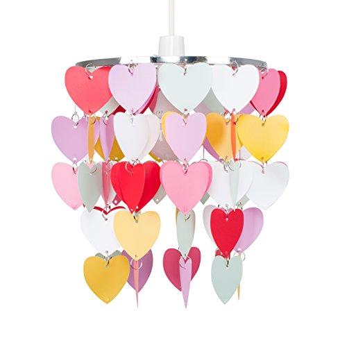MiniSun – Moderner mehrfarbiger Lampenschirm mit Herzenmotiv für Hänge- und Pendelleuchte – Lampenschirm fürs Kinderzimmer