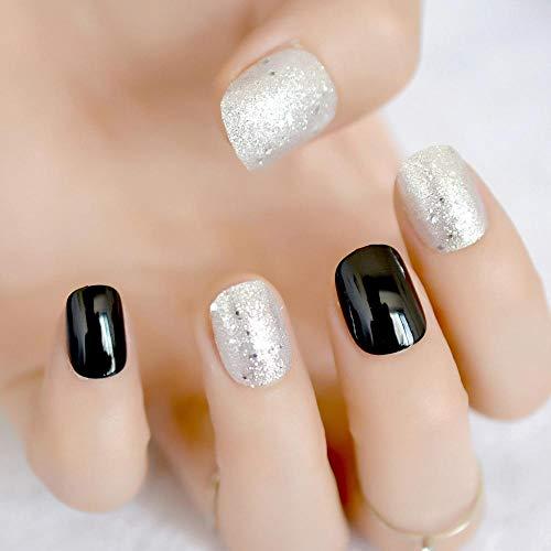 TJJF Ronde Pré-Conçu Faux Ongles Noir Argent Glitter Uv Gel Faux Ongles Conseils Pour Lady Court Wrap Complet Chaud Manucure Outils 24 Pcs