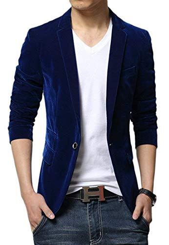 Adelina heren Sakko business pak eenkleurig pak jack vrije tijd velours jongens herenmode slim fit blazer mannen casual fluwelen jas