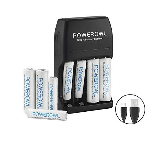 POWEROWL AA AAA Smart Battery Charger with 4-Pack AA Rechargeable Batteries and 4-Pack AAA Ni-Mh Rechargeable Batteries Micro Cable No Adapter