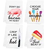 CiyvoLyeen Funny Kitchen Towels Set of 4 Dishcloths White Hand Towels Kit Printed with Funny Sayings Novelty Gift for Christmas Housewarming Birthday Party Watercolor Style