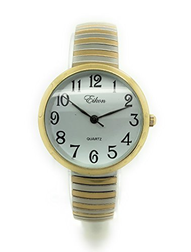 Ladies Kids Small Case Big Numbers Stretch Elastic Band Watch Eikon (Two Tone)