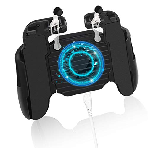 Yaliu H5 Mobile Game Controller with Cooling Fan,Mobile Gaming L1R1 Trigger for PUBG/Fortnite/Call of Duty Game Joystick Gamepad for 4.7-7.0inch Android iOS Phone
