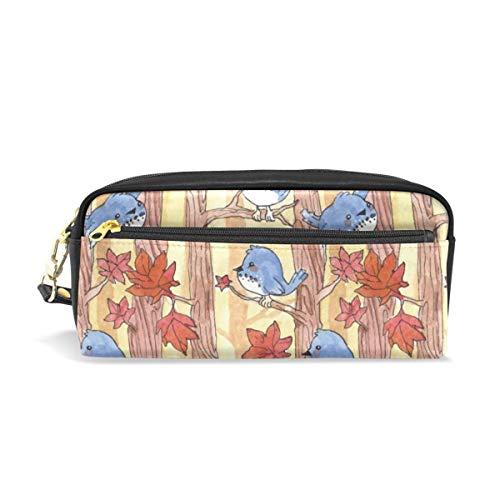 Pencil Case,Herbstvögel Ruhen Auf Dem Baum Ahornblätter Blau Pu Leder Make-Up-Tasche, Weiche Bleistift Taschen Für Home Shopping Im Freien