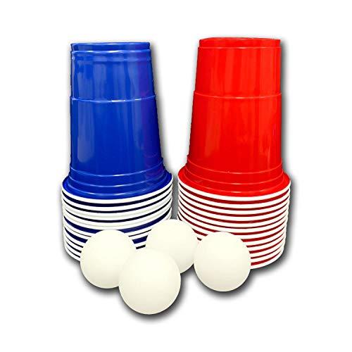 FUNS 28-teiliges Beer-Pong / Bier-Pong Set - 12 rote & 12 Blaue Becher / Trinkbecher (American Cups) + 4 Ping Pong Bälle - 470 ml Inhalt - geruchs- und geschmacksneutral - für Lebensmittel geeignet