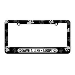 Paw prints around license plate frame