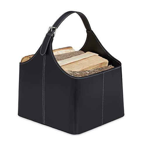 Relaxdays Holzkorb für Kaminholz, Kaminholzkorb aus Kunstleder, zum Tragen & Aufbewahren, Kaminkorb mit Henkel, schwarz