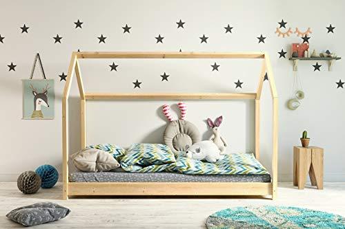Kinderbett Holzbett Hausbett Spielbett 90x200, 80x180, 80x160 Haus Holz mit Lattenrost für Mädchen und Junge - Bella 200x90 cm
