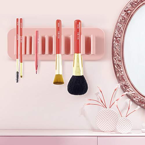 Xiton 1 PC Silicone Brosse De Maquillage Séchage Maquillage Pinceaux Support Organisateur Rack Multifonctionnel Portable Affichage Cosmétique Organisateur 11 Trous Porte-Outil De Maquillage (Rose)