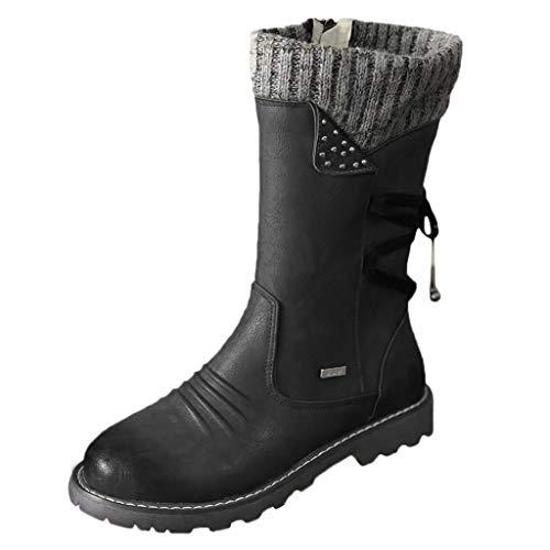 acction Botas de Mujer Otoño Invierno 2019 Tacon Bajo Zapatos Largas Botas Forrado de Piel Antideslizante...