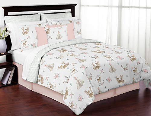 Sweet Jojo Designs Blush Pink, Mint Green and White Boho Watercolor Woodland Deer Floral Girl Full / Queen Kid Teen Bedding Comforter Set - 3 pieces