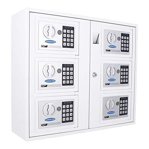 Profirst Partras 6000 Schlüsselausgabe, pulverbeschichtetes Stahlblech, Zylinderschloss mit 2 Schlüssel, weiß, 6 Separate kleine Tresore mit Elektronikschloss, Schlüsseltresor,465x535x170 (HxBxT)