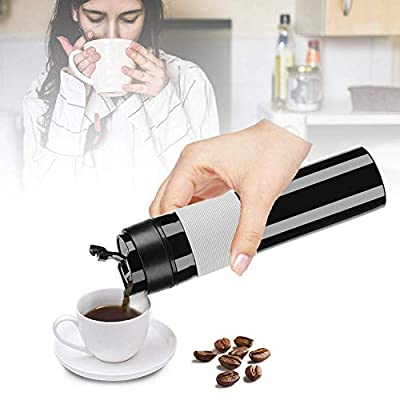 Coffee Press Bottle French Press Tea Coffee Maker One-Handed Open Drinking Water Cup Mug Vacuum Coffee Plunger for Travelling Camping Hiking Office Outdoor 350ml(Black)