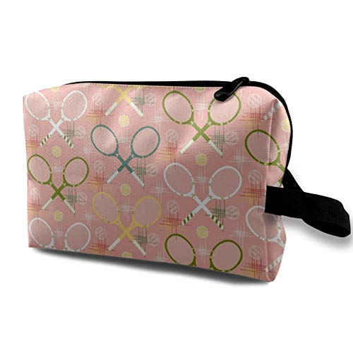 Travel Cosmetic Bag,1950'S Tennis Racquets Pastel Waterproof Makeup Bag Organizer Storage Bag with Zipper 4.9''X6.2''X10''