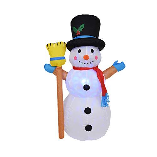 1.2Meters / 4 Feet Riesiger Aufblasbarer Schneemann Mit Einem Besen, Glühend Weihnachtsaußendekoration Mit LED-Licht, Weihnachten Inflatables Spielzeug in Yard Garten