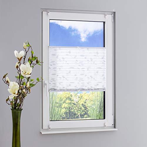 DECOLIA Klemmfix-Plissee verspannt, ohne Bohren oder Schrauben mit Druckdesign Blätter, Breite/Höhe: 80 x 130 cm, Farbe: grau