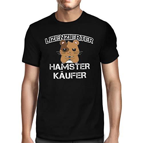 Fashionalarm Herren T-Shirt - Lizenzensierter Hamsterkäufer | Fun Shirt mit Spruch Geschenk-Idee Hamsterkäufe 2020 COVID-19 Corona-Satire Virus, Schwarz 4XL
