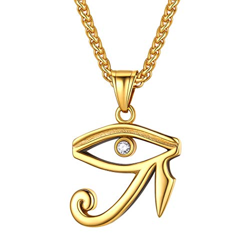 Suplight Stainless Steel Eye of Horus Charm Egyptian God Ra Jewelry Silver Lucky Protection Horus Eye Necklace for Men Women