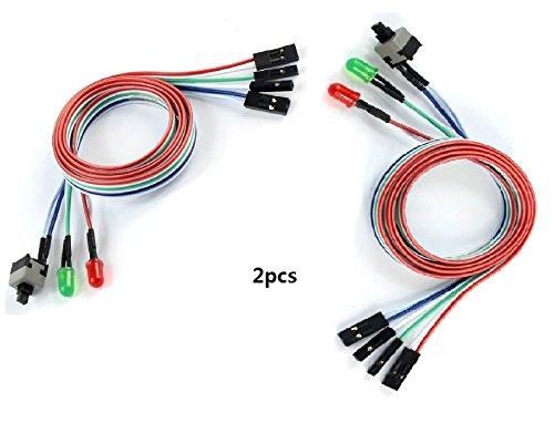 2pcs 3en 1para ordenador de sobremesa PC ATX réinitialiser on/off LED Switch Power Cable Cordón/55cm