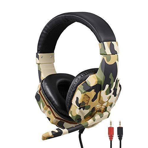 NLRHH Auriculares de Juego de Gama Alta para PS4, Auriculares de Camuflaje Efecto de Sonido Auriculares de Juego 3.5mm Auriculares de Juegos estéreo con Motor de 40 mm (Camuflaje), Amarillo Peng