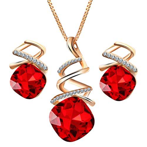 Conjunto de brincos de colar feminino com pingente de gota de água cristal em espiral conjunto de joias presente para festa de aniversário de casamento (vermelho)