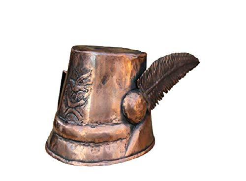 Tazza bicchiere cappello alpino in rame stagnata lavorata a mano