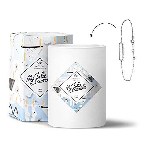 MY JOLIE CANDLE - Bougie parfumée avec Bijou Suprise à l'intérieur - Bijou : Bracelet en Argent - Parfum : Linge Frais - Cire Naturelle végétale - 330g - 70h Combustion