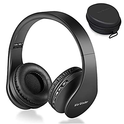 Wireless Bluetooth Over Ear Stereo Foldable Headphones,Wireless and Wired Mode Headsets with Soft Memory-Protein Earmuffs,Built-in Mic for Mobile Phone TV PC Laptop(Black) from WorWoder