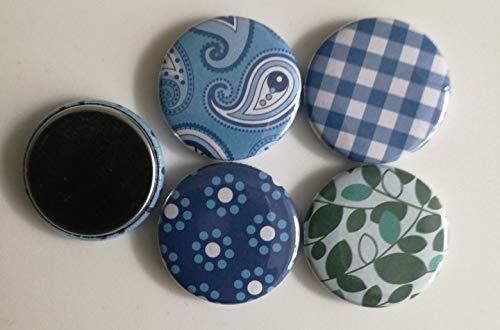 4 x Buttons mit flacher Metallrückseite, blau, Karten gestalten
