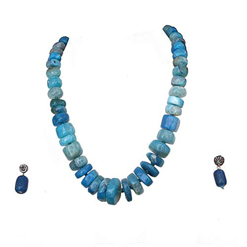JewelryGift Stone Beaded Necklace with Earrings Blue Jasper Haar Chain Mala Jewellery Set for Mother, Sister and Wife