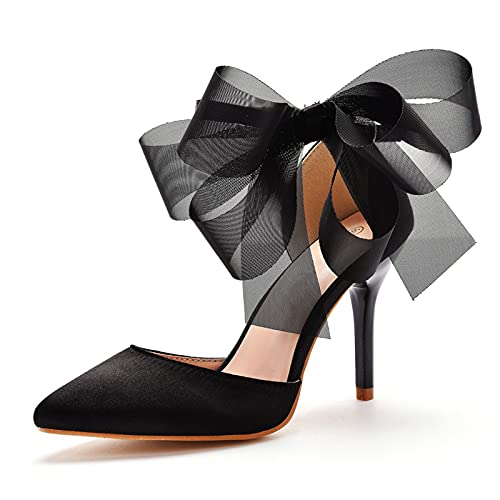 AORISSE Zapatos De Novia De Mujer, 9 cm Gasa Negra Bowknot Sandalias De Tacón De Aguja Puntiagudas Boca Baja Sandalias con Correa En El Tobillo Fiesta De Graduación Tacones Altos,Negro,39EU