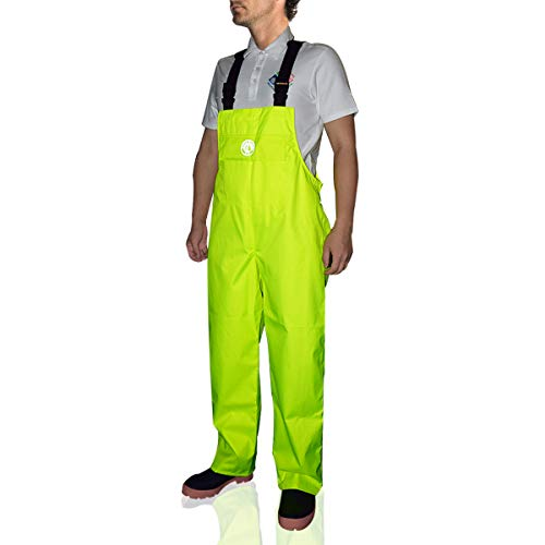 Bib Pants Overall Waterproof for Men Women Rain Trousers with Pockets (Fluorescence, Medium)