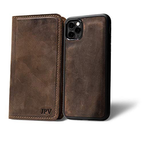 PEGAI Personalized Magnetic Distressed Leather iPhone Wallet Case - McLean (Chestnut, 11)