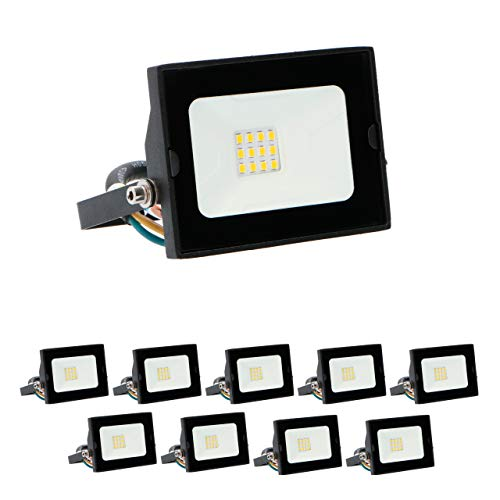 proventa® LED Foco exterior IP65 10W 800 lm. Set 10. Luz blanca...