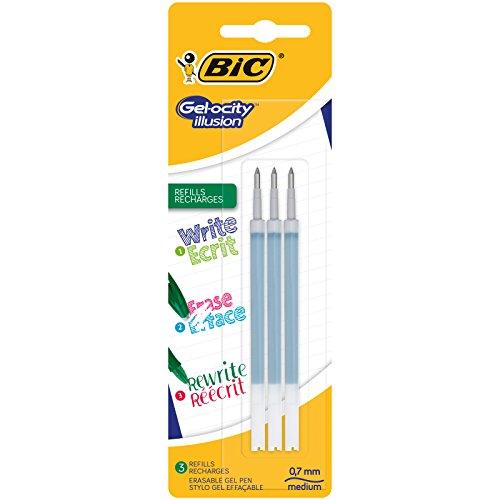 BIC Gel-ocity Illusion Recambios para Bolis de Gel Borrables punta media (0,7 mm) – Verde, Blíster de 3 unidades