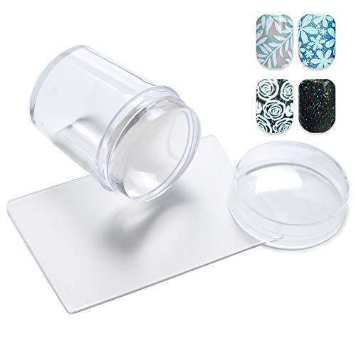 Stamping Nail Art, Tampon Stamping, ongles art gelée Stamper avec racleurs Soft Clear Nail Art Stamping Kit DIY Nail Art Tool pour Salon ou utilisation de la maison 1set
