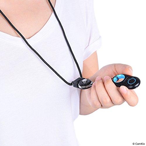 Bluetoothワイヤレステクノロジ搭載のCamKixカメラシャッターリモートコントロール-コンパクトスタイル-iPhone/Androidとの互換性-取り外し可能なリングマウント付きカラビナとストラップ