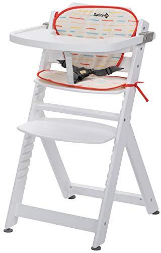 Safety 1st Chaise Haute pour bébé en Bois et Evolutive Timba avec coussin Blanche / Rouge