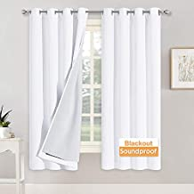 RYB HOME Blackout Curtains with Felt Fabtic Liner for Sound Absorbing, 3 Layers Soundproof Thermal Insulated Summer Drapes for Bedroom Home Theater Baby Nursery, 52 x 63 inch, White, Set of 2