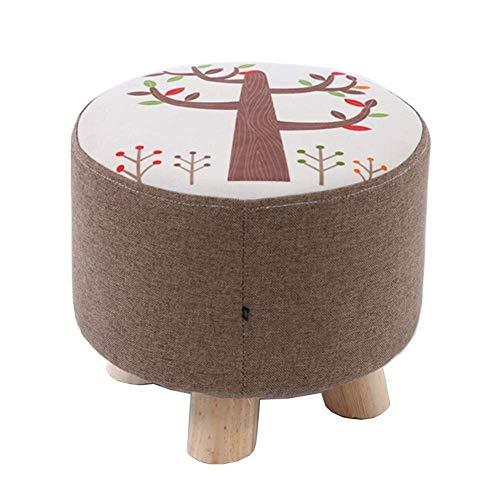 Taburete pequeño ZFFSC de madera maciza, taburete para sala de estar, tamaño pequeño, 28 x 25 cm, Blanco, 28*25cm