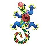 Doherty Metall-Gecko-Wanddekoration – 25 cm bunte Kunsthandwerk Metall Eidechse Kunstwerk für Haus, Terrasse, Zaun, Garten Dekorationen