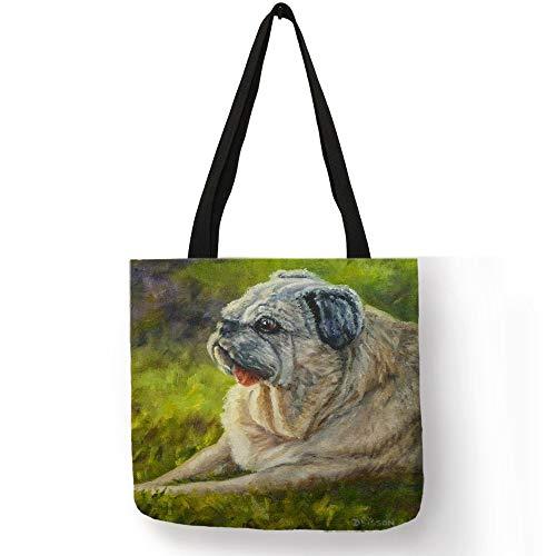 JYSLI Durable Cute Printing Shopping Bags Practical Linen Foldable Lightweight Handbag Outdoor Storage Totes for Women Portable (Color : 002)