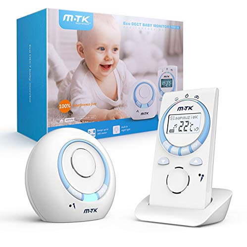 Vigilabebés MTK, monitor de audio para bebés, tecnología DECT digital, inalámbrico, con función de intercomunicación, luz nocturna y canciones de cuna, 300 metros, área de vigilancia portátil
